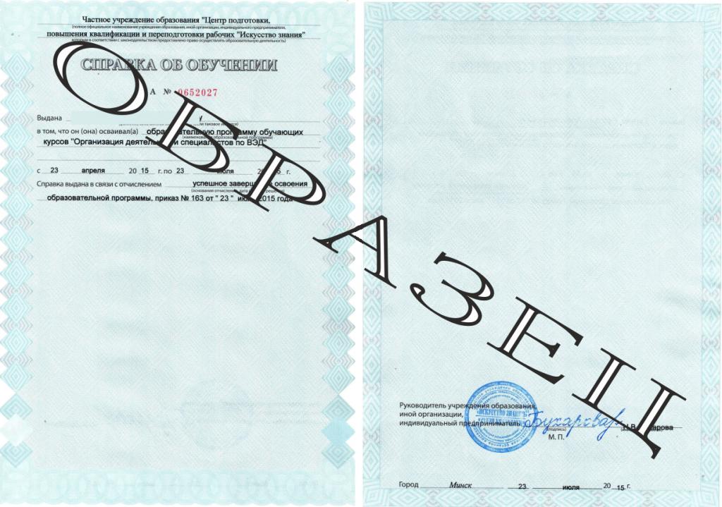 Документ установленного образца