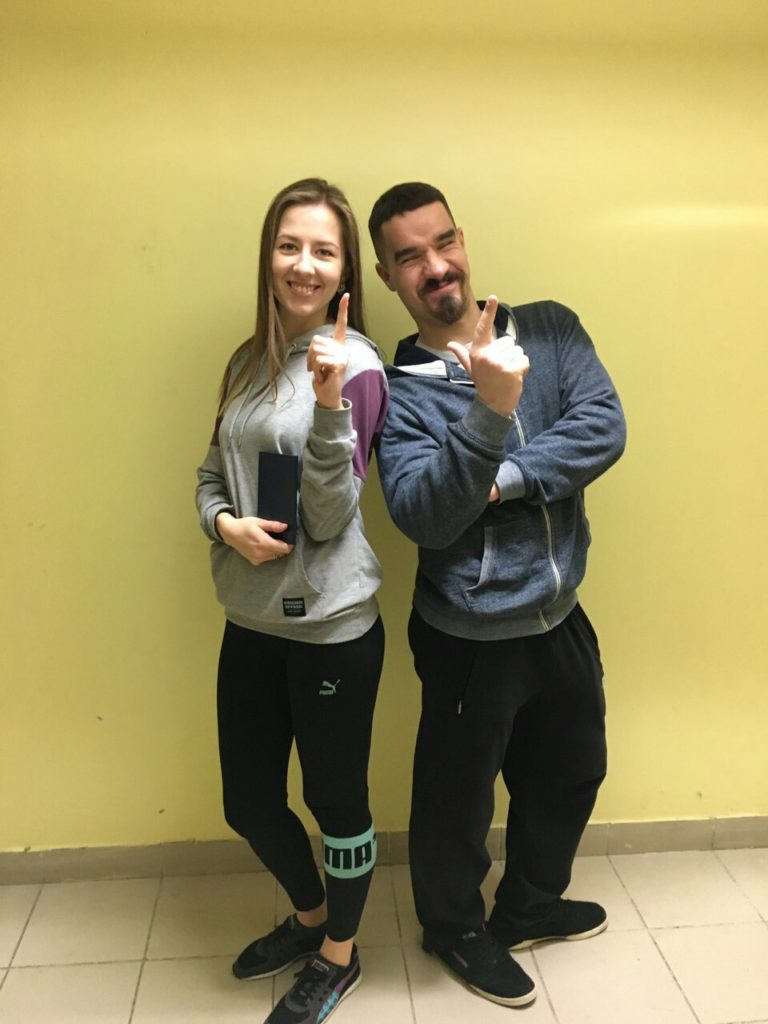 Выпускница курса с преподавателем Егором