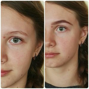 До и после коррекции и окраски бровей